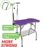 Polar Aurora Pingkay Heavy Duty Stainless Steel Pet Professional Dog Bone Pattern Foldable Grooming Table w/Adjustable Arm & Noose & Mesh Tray (46