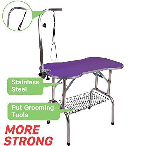 Polar Aurora Pingkay Heavy Duty Stainless Steel Pet Professional Dog Bone Pattern Foldable Grooming Table w/Adjustable Arm & Noose & Mesh Tray (32″ Purple)