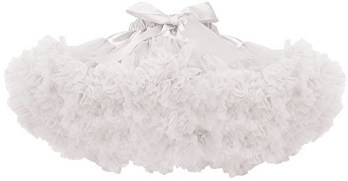 [Simplicity Girls Princess Soft Fluffy Birthday Tutu Skirt for 5-7 Years,White,L] (Kids Tutu)