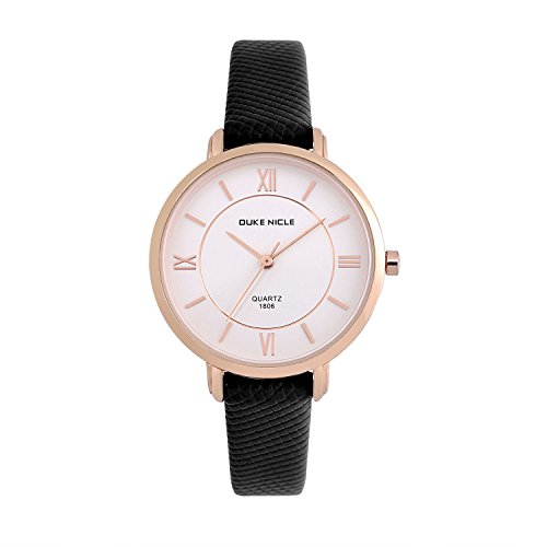 Womens Fashion Watch,Ladies Elegant Waterproof Quartz Rose Gold Case Roman Numeral Casual Wrist Watches with Soft Genuine Leather Band (Black) ()