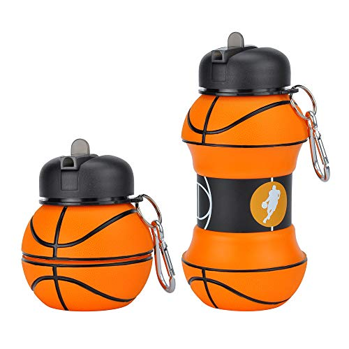 Xelics Kids Sports Water Bottle Collapsible Basketball Ball Shaped Design Reusable 19 oz Drinking Cup Leak Proof Shockproof Squeezable Compact Travel Jug ()