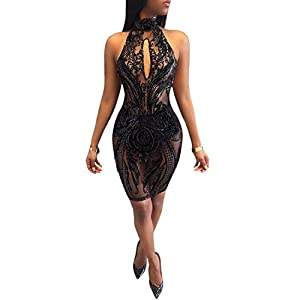acelyn Women's Sexy Halter Backless See Through Sequins Floral Club Bodycon Mini Dress