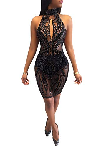 Acelyn Women's Sexy Halter Backless See Through Sequins Floral Club Bodycon Mini Dress (Small, Black) -
