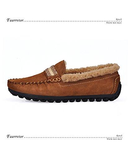 Happyshop (tm) Mode Nubuck Leer Wollen Binnen Casual Instappers Loafer Rijden Heren Schoenen Mocassins Bruin