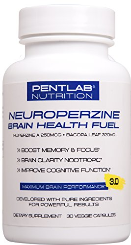 Best Natural Brain Function Booster - Memory, focus & clarity formula - Nootropic scientifically formulated Bacopa Monneri Huperzine A, Neuroperzine Brain Health Fuel Pentlab 30 Veg Cap. Non-gmo