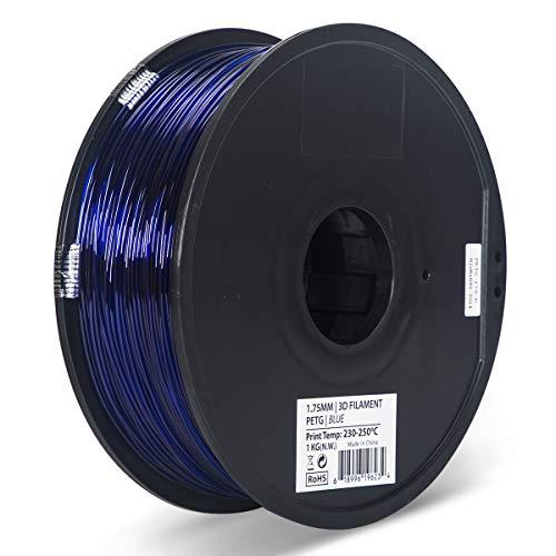 (Inland 1.75mm Translucent Blue PETG 3D Printer Filament - 1kg Spool (2.2)