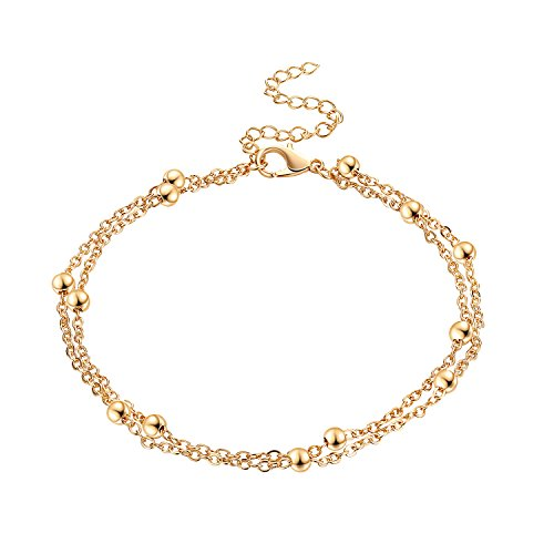 Fesciory Women Anklet Adjustable Beach Ankle Chain Gold Alloy Foot Chain Bracelet Jewelry Gift For Girls(Gold Bead)