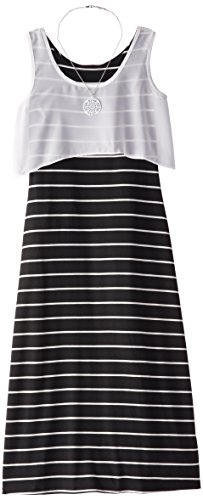 Amy Byer Big Girls' Striped Maxi Dress with Popover, Black, Large