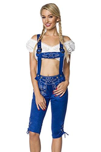 Blaue Damen Trachtenkniebundhose mit Hosenträgern und Stickereien Velourlsederoptik Bayrische Latzkniebundhose Lederoptik abnehmbare Träger Oktoberfest S