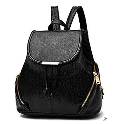 Alice Leather Backpacks  School Bags For Girls Women - Black  Amazon.in   Bags 88371d2b3fa4b