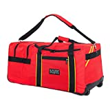 Rolling Firefighter Gear Bag Fireman Equipment Duffel with Wheels Paramedic Wheeled Travel Bags Helmet Pocket
