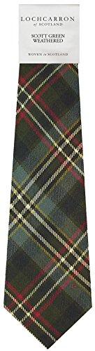 Clan Tie Scott Green Weathered Tartan Pure Wool Scottish Handmade Necktie