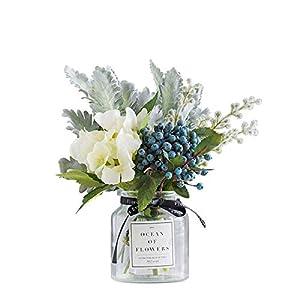 Ins Style Vase with Artificial Flower Set 1 Piece Fake Rose Berry Leaf Floral Flower Arrangement Glass Rose 1