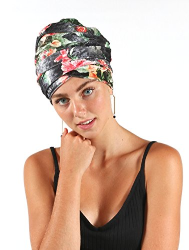 Pretty Simple Luxury Turban Floral Velvet Head Wrap Extra Long Scarf Tie, Gray by Pretty PS Simple (Image #6)