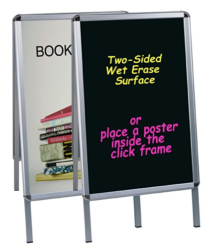 Reversible Sided Double Chalkboard (MasterVision Wet Erase Reversible Double Sided Reversible Poster and Sign Board, Black with aluminum Frame)