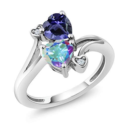 Gem Stone King 1.56 Ct Heart Shape Blue Iolite Mercury Mist Mystic Topaz 925 Sterling Silver Ring (Size 6)
