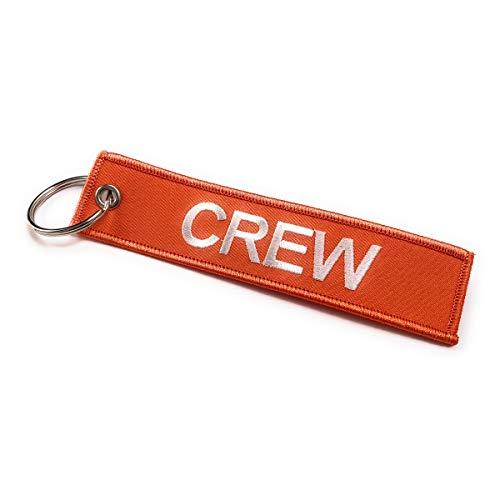 Crew embroidered luggage tag   Keyring   Multicolors (Orange/White)