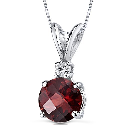 14 Karat White Gold Round Cut 1.50 Carats Garnet Diamond Pendant by Peora