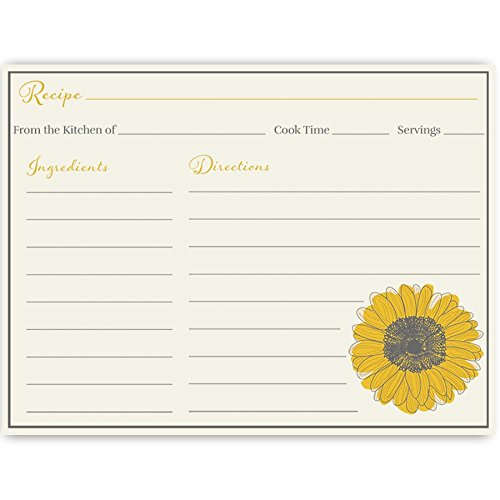 Recipe Cards, Sunflowers, Sunflower, Bridal Shower, Yellow, Country, Floral, Housewarming, Shabby Chic, Wedding, Gift, Double Sided with Lines, Size 4 x 6, 24 Printed -