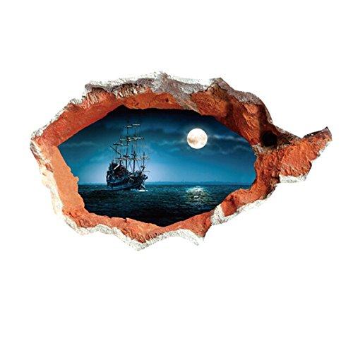 UNIQUEBELLA 3D Removable Mural DIY Home Art Decor Wall Sticker Decal Moonlight Nautical 70 * 100cm
