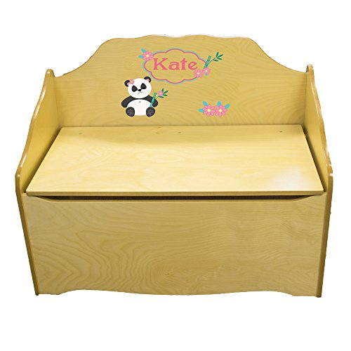 Personalized Panda Bear Childrens Natural Wooden Toy Chest by MyBambino