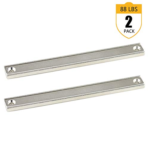 (Neodymium Rectangular Pot Magnets with Counter Bore, 88 LB Pulling Forces, 4XL Countersunk Hole Bar Magnets, Rare Earth Magnets with Mounting Screws, Pack of 2)