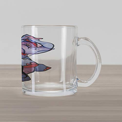 Lunarable Animal Glass Mug, Colored Cute Playful Elephant in Cartoon Style Smiling Animal Illustration Art, Printed Clear Glass Coffee Mug Cup for Beverages Water Tea Drinks, Purplegrey Pink