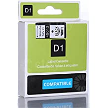 Generic Black on White Label Tape Compatible for DYMO D1 45013 1/2-inch 23-foot Cartridge