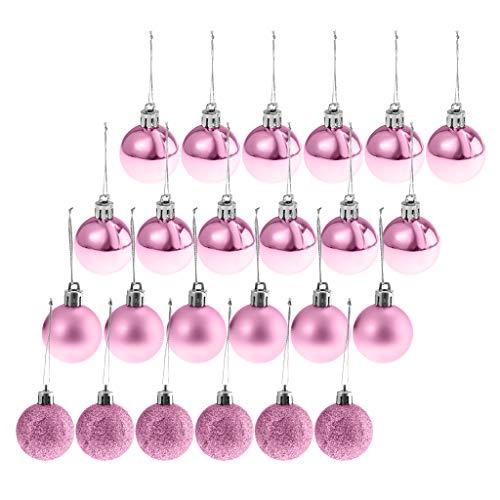 Baoblaze 24pcs 8cm Feliz Navidad Adornos Navideños Bolas Árbol Colgando Decoración - Rosa