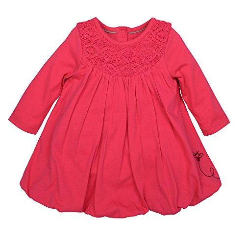 Burt's Bees Baby Baby Girls' Long Sleeve Organic Bubble Dress, Magenta Maple, 24 Months (Crochet Yoke)