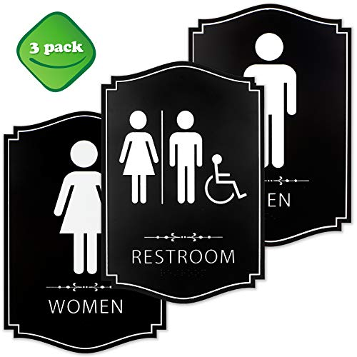 Gender Neutral Unisex/Handicap Men/Women Modern Family Restroom Sign (3pk) - ADA Compliant Braille Male & Female Bathroom Sign with Double Sided 3M Tape for Offices, Businesses, and Restaurants from KickFire Classics