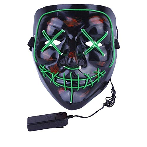 Halloween Scary Mask LED Light Up Masks Adult (Green) -