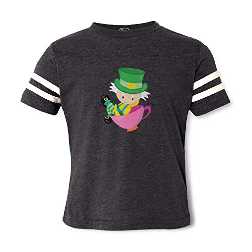 The Mad Hatter Contrasting Stripes Crewneck Toddler Boys-Girls Cotton/Polyester Football T-Shirt Sports Jersey - Dark Gray, -