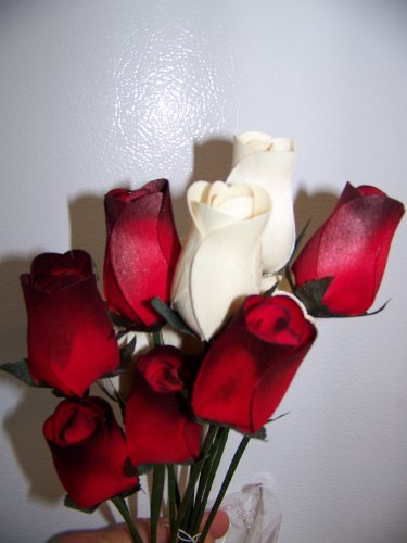 Forever Wooden Roses 1 Dozen Red/black Tip and White