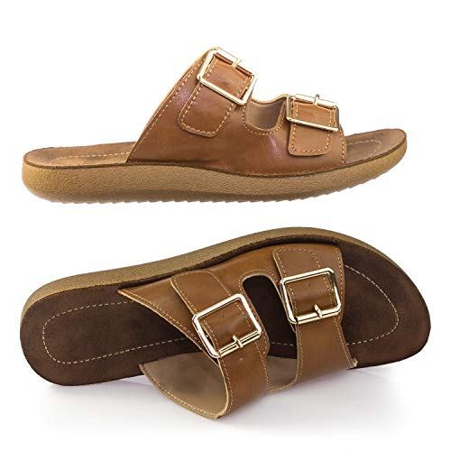an Molded Footbed, Casual Slide in 2 Strap Cork Platform Flat Sandal -9 ()