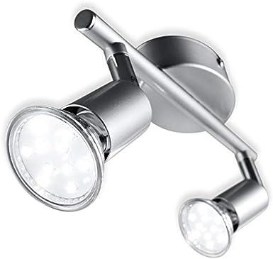 B.K.Licht plafonnier 2 spots LED orientables, 2 ampoules LED 3W GU10 fournies, 250lm par spot, blanc chaud 3000K, éclairage intérieur plafond LED cuisine chambre salon