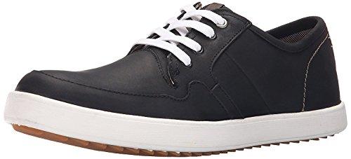 Hush Puppies Mens Hanston Roadside Leather Sneaker, Black Leather, 45.5 2E EU/10.5 2E UK