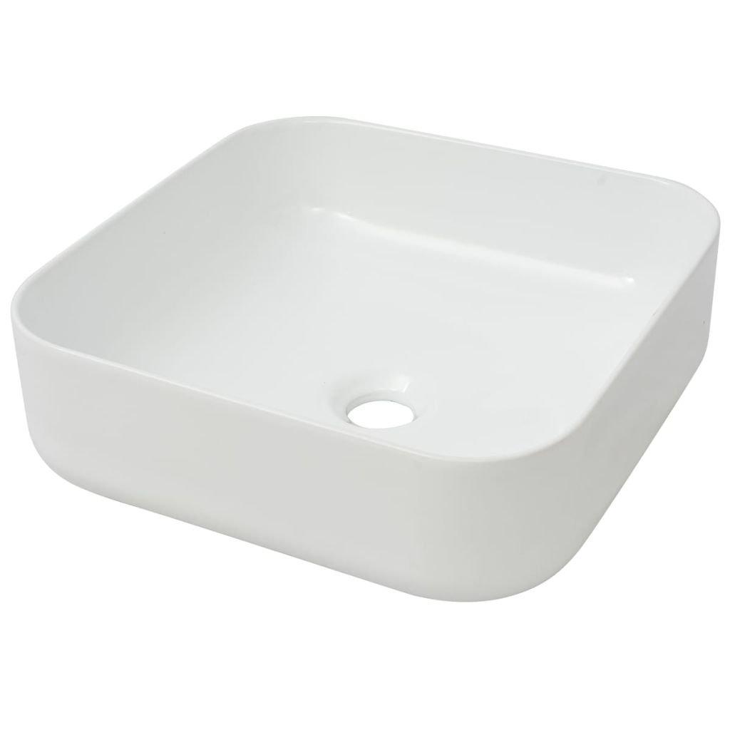vidaXL Lavabo Modelo Cuadrado de Cerámica Dimensiones 38x38x13,5 cm Color Blanco