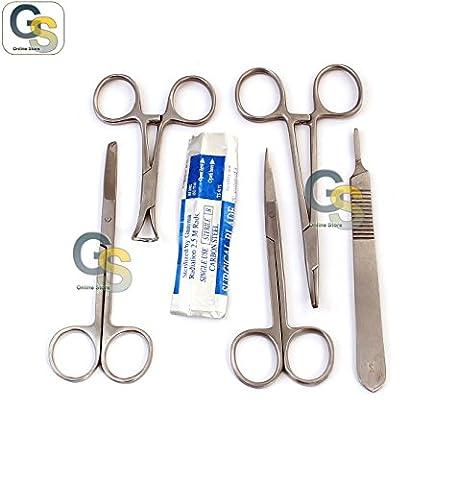 G.S 15 PCS LACERATION KIT FORCEPS SCISSORS TOWEL CLAMPS SCALPEL HANDLE BLADES - Sterile Scissors