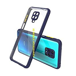 AE Mobile Accessories Back Cover for Redmi Note 9 Pro/Redmi Note 9 Pro Max, Miqilin Series Tranparent Shock Proof Smooth Rubberized Matte Hard Back Cover (Blue)
