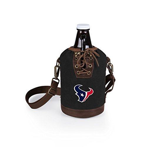 PICNIC TIME NFL Houston Texans Canvas Lace-up Growler Tote with 64 oz Amber Glass Growler, Black
