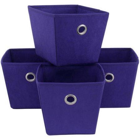 Mainstays Versatile and Handy Non-Woven Bins, 4-Pack, Dark Grape