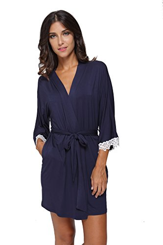 The Bund Women's Short Sleepwear Modal Cotton Knit Robe-Lace Trim, S Dark - Lace Jersey Robe