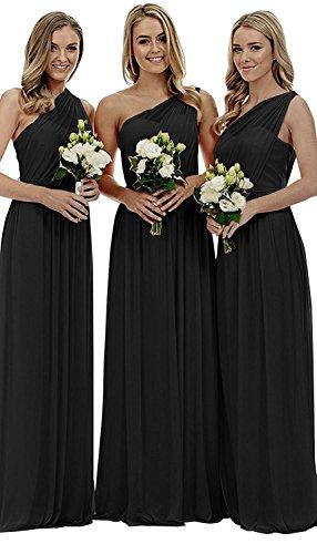 Chiffon Hochzeit Abendkleider Damen Lang Schulter kleider Partykleider Elegant Schwarz Brautjungfern Eine Beyonddress 5wRvq