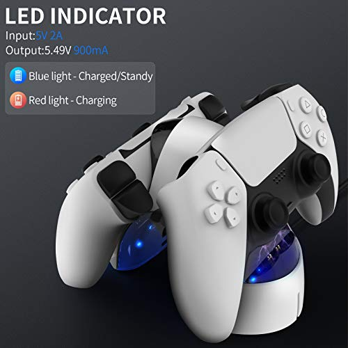 Gamory Charging Dock Station for PS5 Controller, Fast Dual USB PS5 Controller Charging Station Playstation 5 with LED Indicator Safety Chip Protection PS5 Charging Dock Stand Station