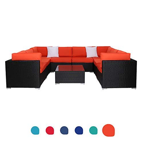 Peach Tree 9 PCs Outdoor Patio PE Rattan Wicker Sofa Sectional Furniture with 2 Pillows and Tea Table (Sofa Garden Rattan Natural)