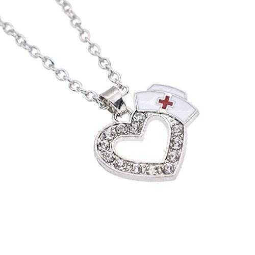 Enamel Nurse Cap Pendant Necklace Rhinestone Heart Silver Nurse Graduation Gift