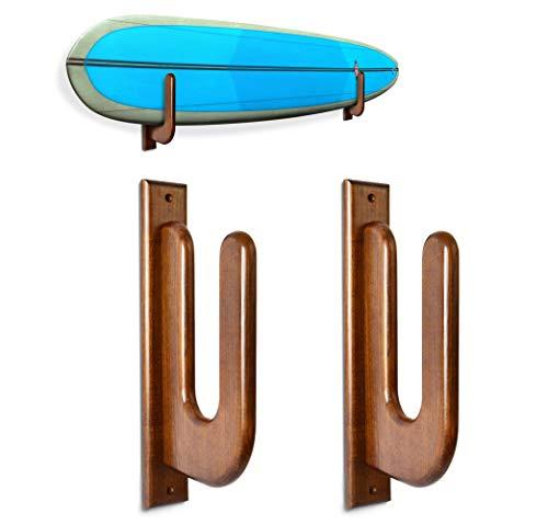 Teslyar Surfboard Rack Holder Hooks Ash Tree Wood Eco-Friendly Display Natural Finish Snowboard Wakeboard