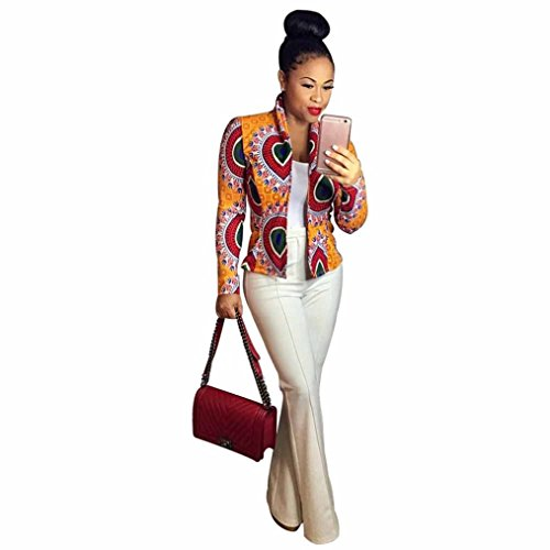 Short Casual Jacket ,BeautyVa Fashion Women Dashiki Long Sleeve Fashion African Print Dashiki Short Casual Jacket (XL, Yellow)