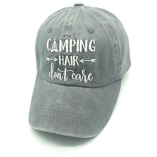 Waldeal Embroidered Unisex Camping Hair Don't Care Cotton Twill Adjustable Baseball Hat Cap Grey
